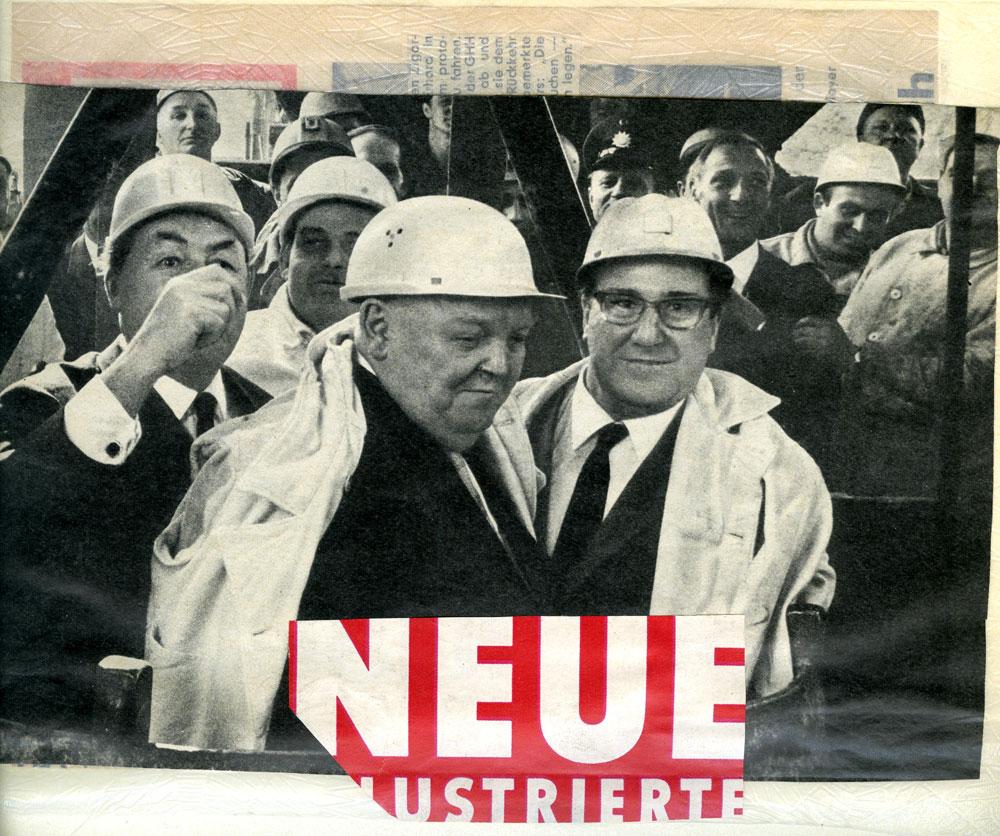 Bildausschnitt aus einer Illustrierten. Links hinter Erhard sieht man Kurrat. Foto: Privat